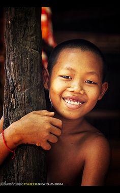 Novice Monk at Kompong Khleang along Tonle Sap Lake – Cambodia, Southeast Asia