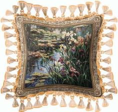 Summer Lily Art Tapestry Pillow with Tassels