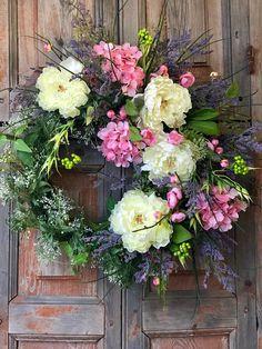 Wedding wreath, spring wreath, wreath for front door, wedding decor, spring decor, housewarming gift, bridal shower decor, gift for her, wedding gift, peony and hydrangea wreath, farmhouse decor, country wreath, Mother's Day wreath, easter wreath, spring wreath, pink and white