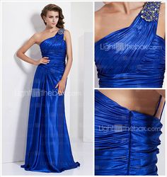 Evening Dresses Petite, Sheath/Column One Shoulder Charmeuse - USD $ 179.99