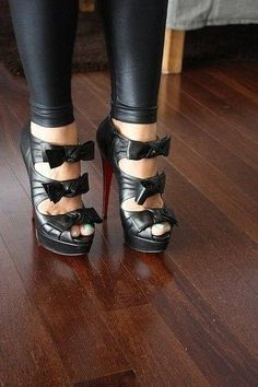 Black leather bow heels