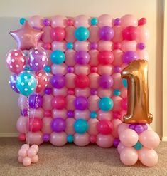 Nov 2018 - Balloon wall & decor for Little Girl's first birthday party — so pretty in pink, turquoise, and lilac/lavender. One is wonderful! 🌸 First Birthday Decorations Girl, Birthday Wall Decoration, Balloon Wall Decorations, Girls Party Decorations, First Birthday Parties, First Birthdays, Birthday Balloons, Pink Turquoise, Ideas Party