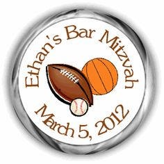 Sports Personalized Bar or Bat Mitzvah Hershey Kisses Labels