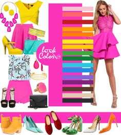 Color bright fuchsia combined in clothes Цвет яркая фуксия Color Wheel Fashion, Colour Combinations Fashion, Color Combinations For Clothes, Fashion Colours, Colorful Fashion, Color Combos, Color Type, Look Rose, Color Balance