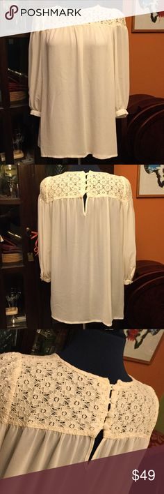 Topshop Ivory Lace Blouse Romantic blouse that can be worn as a loose top or tucked in for a more tailored look. Very sweet look that would be beautiful for a wedding photo shoot! Gently worn and in excellent condition.💕 Topshop Tops Blouses
