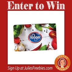 Facebook Twitter PinterestHere is an offer where you can enter to win 1 of 2 $250 Kroger Gift Cards.Ends on April 30, 2016. ENTER HERE