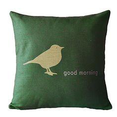 Good Morning Cotton/Linen Decorative Pillow Cover – USD $ 12.99