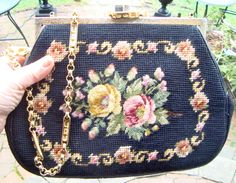 NEEDLEPOINT PURSE Stunning Vintage Needlepoint Large Black Floral Rose Trimmed Purse Pocketbook Satchel With Gold Clasp and Gold Chain by StudioVintage on Etsy