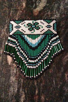 Beautiful Green Native Style Beaded Barrette. $50.00, via Etsy.