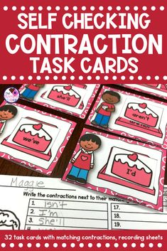 Valentine's Day is a day of LOVE! Your first grade, second grade, or kindergarten students will LOVE this FUN contraction language arts activity.  It includes 32 task