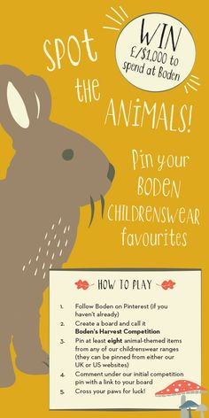 Spot the animals and win! Find and pin at least eight animal-themed Mini Boden…