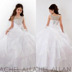 Sweet Kids Party White Flower Girls Beaded Ball Gown With Crystals Floor Length Child 2014 Glitz Girl's Pageant Dresses
