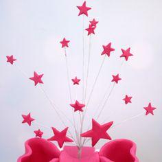 Cerise Handmade Icing Shooting Stars Spray With Plastic Pick