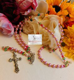 Rosary/Prayer Beads/Pink Gold/Crucifix Silver /Our Lady of Guadalupe Centerpiece Catholic/Handmade/Traditional LR#0049 by Justmyhands1Rosaries on Etsy