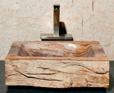 Medium Beige and Orange Petrified Wood Sink | Vessel Bath Sink | ArtisanCraftedHome.com
