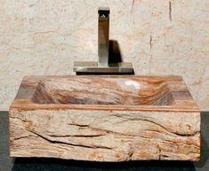 Medium Beige and Orange Petrified Wood Sink | Vessel Bath Sink | ArtisanCraftedHome.com