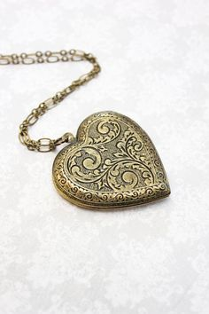 Large Heart Locket Necklace Gold Floral Pendant by apocketofposies