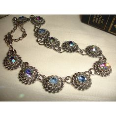 1940s Necklace Aurora Borealis Stones Silver Hollywood Regency Mad Men... ($40) ❤ liked on Polyvore