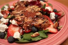 Grilled Chicken & Berry Salad with Goat Cheese, Pecans, and Blueberry Maple Balsamic Vinaigrette | cupcakesandkalechips.com #salad