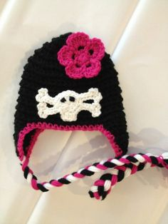 Skull and Crossbones Baby Girl Punk Rock Hat With Braided Tassels Crochet Made to Order