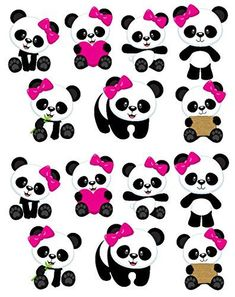 Panda Themed Party, Panda Birthday Party, Panda Party, Bear Party, Niedlicher Panda, Pink Panda, Panda Bears, Removable Wall Decals, Wall Decal Sticker