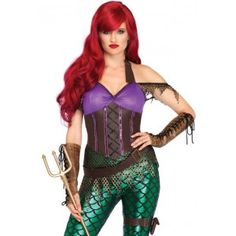 Rebel Mermaid Womens Halloween Costume Our Price $65.00  Inspired by our favorite little mermaid with a little Mera thrown in this warrior mermaid is ready for action in a sexy mermaid catsuit with scale leggings and a faux leather top. Paired with a hip hugging belt and garter this is the perfect option for sea worthy cosplay or Halloween fun!  Other items shown sold separately.  #cosplay #costumes #halloween
