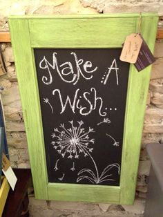 Make a Wish chalkboard made from cabinet door face