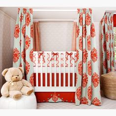 Interior designer Melodie Rubin of San Francisco-based House of Ruby has a way with fabric, color, and pattern, so it's no surprise that she's created some Turquoise Nursery, Coral Nursery, House Of Turquoise, Nursery Room, Orange Nursery, Baby Room, Nursery Decor, Nursery Curtains, Orange Baby Nurseries