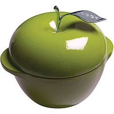 This is so adorable!          @Overstock - Lodge Enamel cookware is made of durable cast iron Apple-shaped pot comes in a green color option Three-quart cast iron pot adds a burst of color to any kitchenhttp://www.overstock.com/Home-Garden/Lodge-Green-Apple-Enamel-3-quart-Cast-Iron-Cookware/4402297/product.html?CID=214117