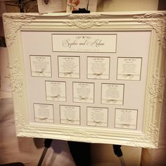 Beautiful Vintage Elegant Ivory and Cream Ornate Framed Wedding Seating Plan by Silviedesigns on Etsy, £95.00