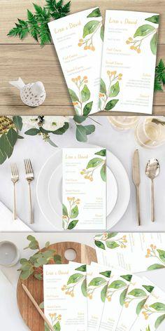 Printable Wedding Menu Watercolor Wedding Menu Floral