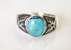 Vintage Turquoise Thunderbird Mens Ring / Sterling by yeoldewish, $68.00