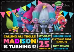 Trolls Invitation Trolls Inspired Trolls Invite Trolls Birthday Party Trolls Printables Trolls Party Supplies Poppy and Brunch Invitation #trolls #birthdayparty #trollsinvitation