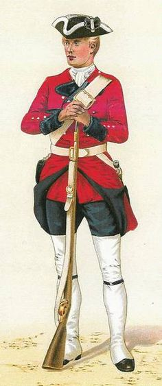 """Private, 60th (Royal American) Regiment of Foot, 1758-1767 - """"The 60th Regiment of Foot was unusual in the British infantry in that it had four battalions rather than the usual single battalion, and that it was largely recruited from foreigners. It had initially been planned to be recruited in the 13 American colonies but volunteers were lacking and many Swiss, Germans and other nationalities were recruited."""""""