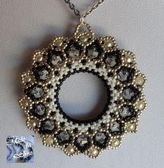 Bhaktapur double face pendant by madeinsimo on etsy 00 bhaktapur double etsy face glitzer madeinsimo pendant O Beads, Beads And Wire, Beaded Jewelry Patterns, Beading Patterns, Beaded Ornaments, Beading Tutorials, Bead Art, Bead Weaving, Beaded Embroidery