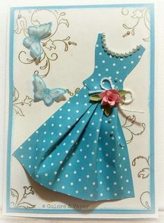 Paper Dress Embellishment ~ Stampin 'Up! Can be teamed up with Quilling Handmade Birthday Cards, Greeting Cards Handmade, Scrapbook Paper Crafts, Scrapbook Cards, File Decoration Ideas, Stampin Up Karten, Dress Card, Marianne Design, Diy Cards
