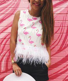 Loving this White & Pink Flamingo Feather-Trim Tank on #zulily! #zulilyfinds