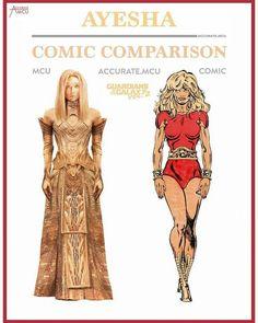 Ayesha. Guardians. Comic comparison