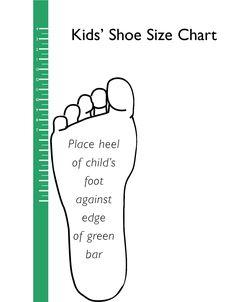Printable Shoe Size Chart | Free Printable Kid's Shoe Sizing Chart ...