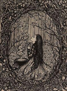 Art by Lady Viktoria di ArtbyLadyViktoria su Etsy Art And Illustration, Art Inspo, Art Noir, Images Esthétiques, Witch Art, Fairytale Art, Witch Aesthetic, Psychedelic Art, Light Art