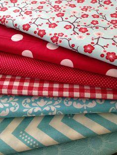 Aqua and Red Fabrics