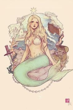 The Little Mermaid by *JDarnell a. yasahime (Jasmin Darnell) (New Zealand) more like Ariel though Fantasy Creatures, Mythical Creatures, Sea Creatures, Illustration Manga, Illustrations, Mermaid Illustration, Real Mermaids, Mermaids And Mermen, Mermaids Exist