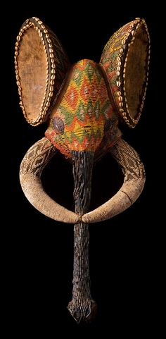 Elephant mask from the Bali region Grassfields, Cameroon,ca. prior to 1930s. Wood, textile and glass beads