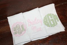 Set of 3 monogrammed/appliqued burp cloths-baby boy baby girl gift-baby shower-hospital-coming home gift-personalized-unique-green pink girl by annabeesdesign on Etsy