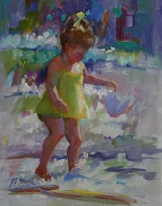 OIL SKETCH OF LITTLE GIRL IN A YELLOW SWIMSUIT, painting by artist Elizabeth Blaylock