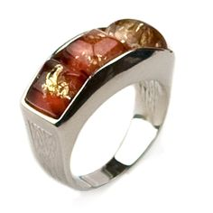 Amber Red Coated Sterling Silver Designer Ring * Review more details here : Fashion Jewelry