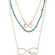 Aeropostale Infinity Triple Long-Strand Necklace (120 EGP) ❤ liked on Polyvore featuring jewelry, necklaces, multi, infinity necklace, metal chain necklace, triple strand necklace, chain necklace and long beaded necklace