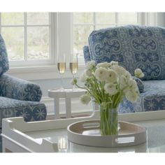 Kerry Hanson Design - Living room design introduces stylish furnishings such as a set of blue roll arm accent chairs and an oval white Oomph Tini II Table. Decor, Blue And White, Blue And White Pillows, White Rooms, Living Room White, Home Decor, White Accent Table, Coffee Table, White Decor