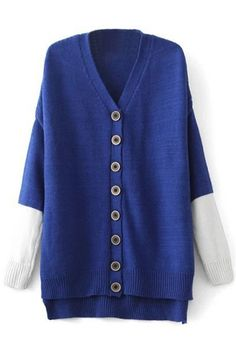 Chic V Neck Color Block Cardigan