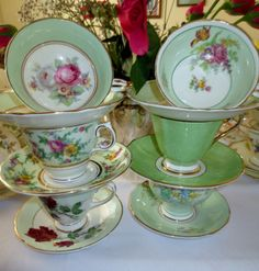 Some green trios that don't fit in thematically with the rest of my green china, but are beautiful